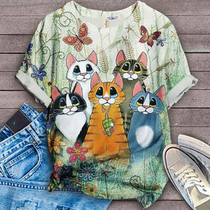 Cat Floral Love You T-Shirt 11