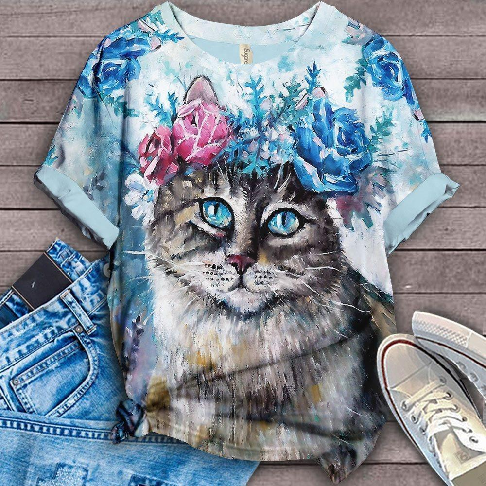 Cat Floral Love You T-Shirt 3