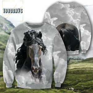 Majestic Black Horse With Curly Hairstyles 3D Front & Back Unisex Jolly Cheerful Gift Grey Cloud Sky Sweatshirt 15