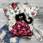 Cat Floral Love You T-Shirt 13