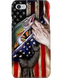Fishing Hands Holding American Flag