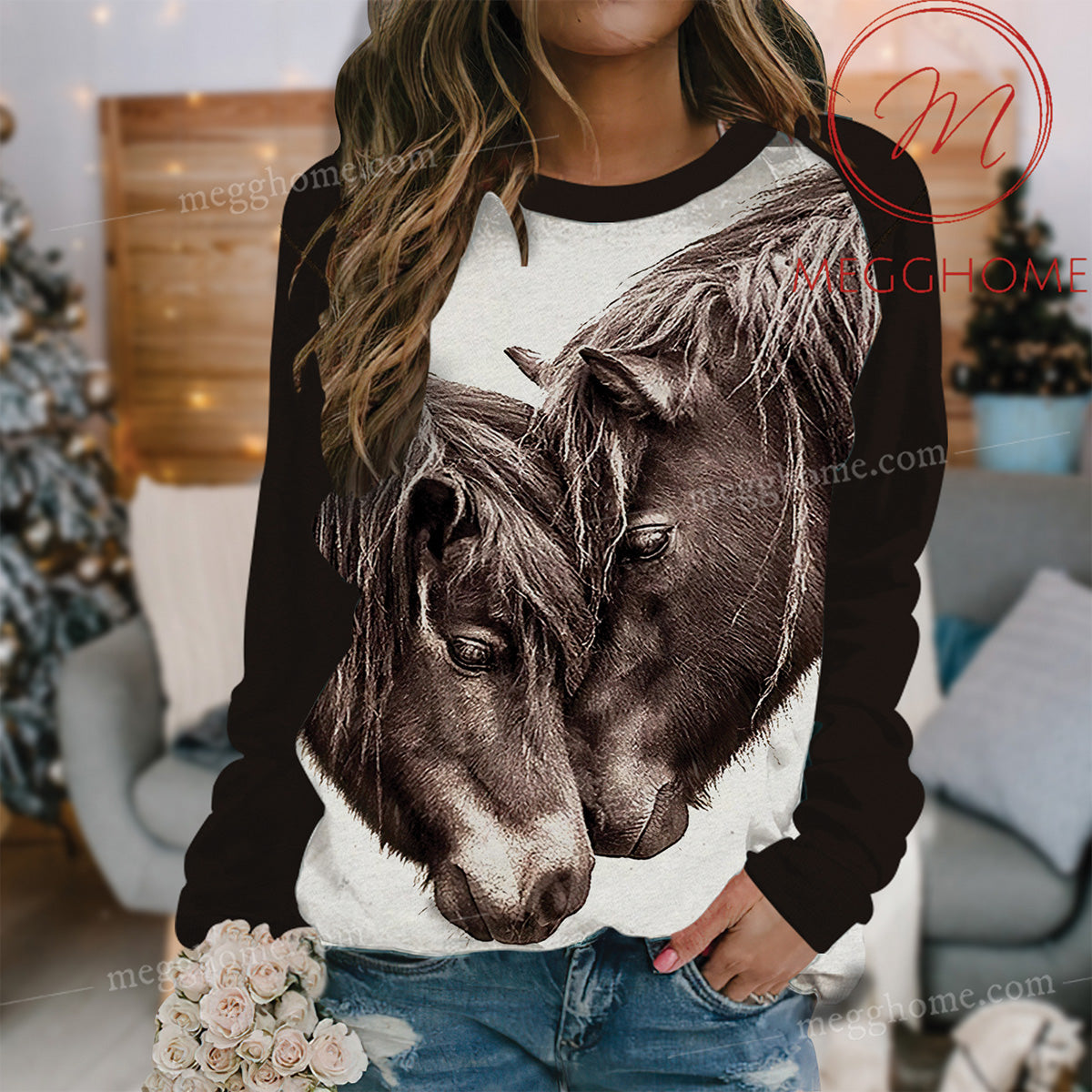 Cute Couple Brown Horse Raglan Gift Idea 3D Sweatshirt 17