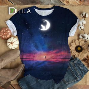 Cat Moon Reflection T-shirt 3 (Glow in the dark)