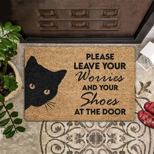 PLEASE LEAVE YOUR WORRIES AND YOUR SHOES COIR PATTERN ALL OVER PRINTING DOORMAT