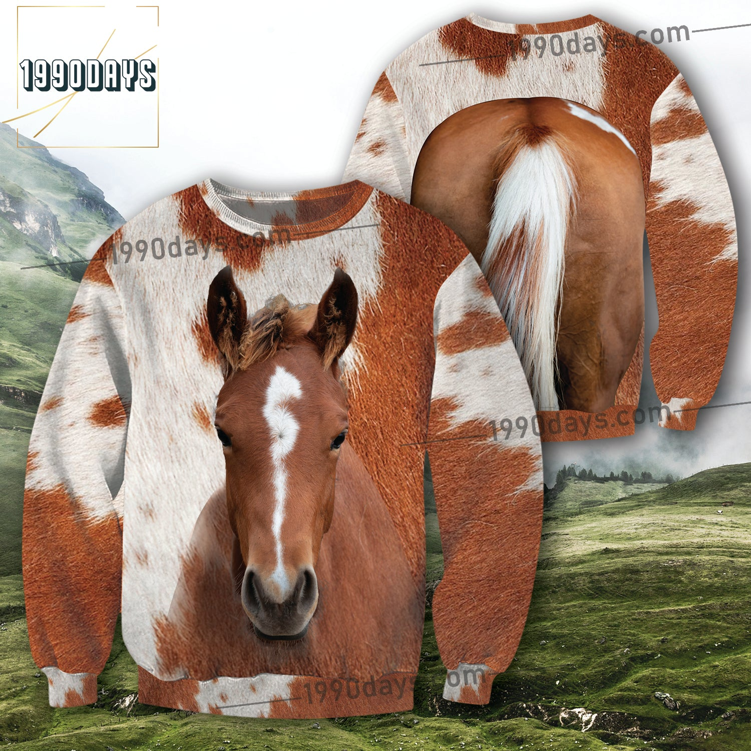 American Quarter Horse 3D Front & Back Unisex Jolly Cheerful Gift Brown & White Sweatshirt