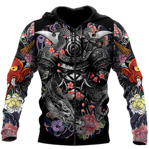 Samurai and Dragon Tattoo 3D Over Printed Unisex Zip Hoodie