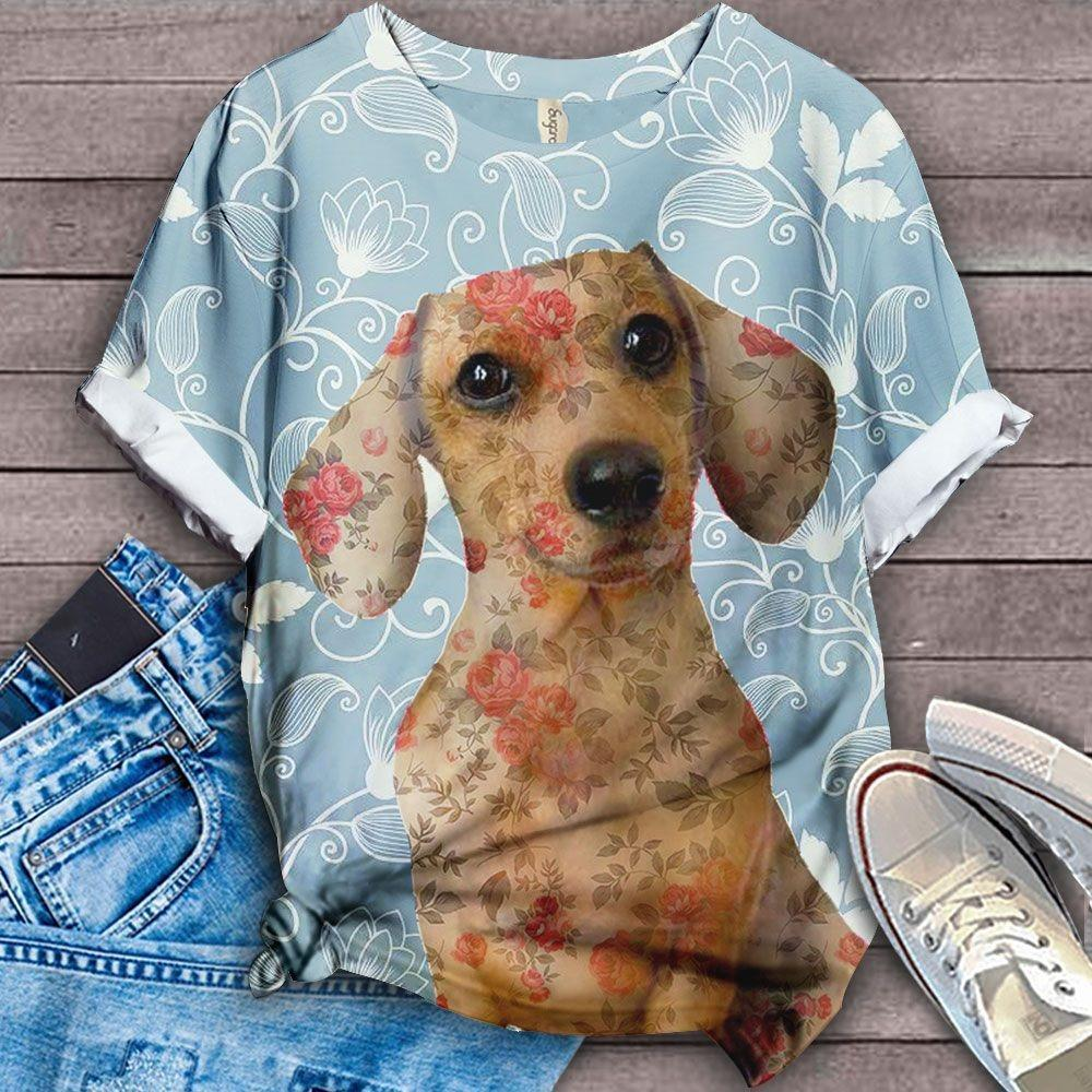 Dachshund Floral Love you T-Shirt 5