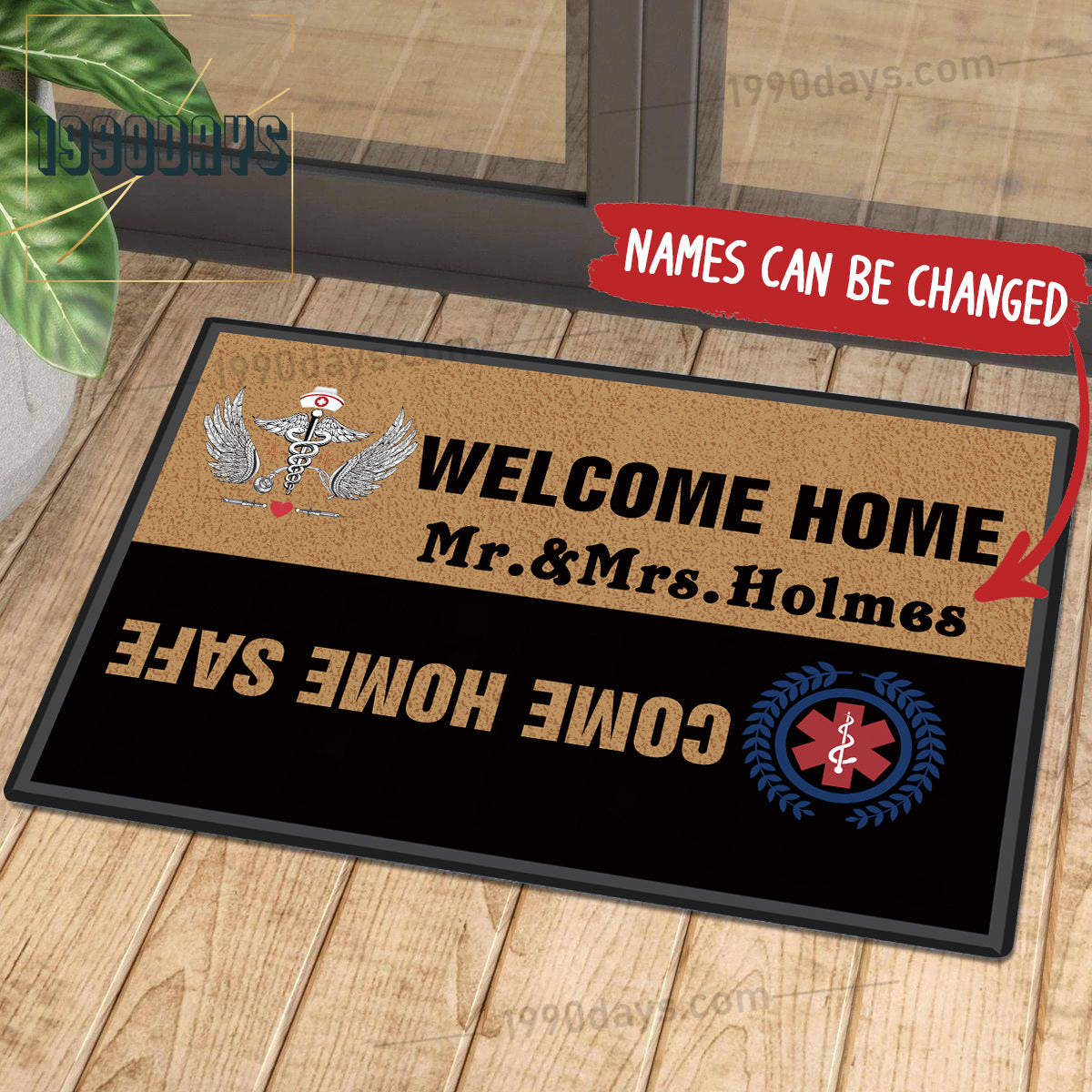 Welcome Home Come Home Safe Nurse Doormat Customize Your Name Black & White Indoor Outdoor Mat
