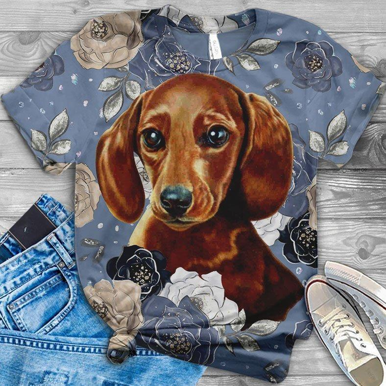 Dachshund Floral Love you T-Shirt 17
