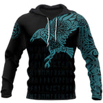 Vikings The Raven of Odin Tattoo Green Special Gift 3D Unisex Hoodie