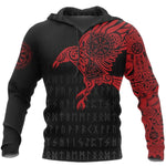 Vikings The Raven of Odin Tattoo Red Black Gift 3D Unisex Hoodie