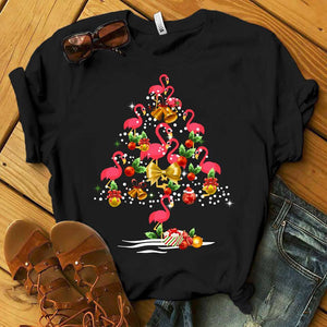 Flamingo Christmas Tree T-Shirt