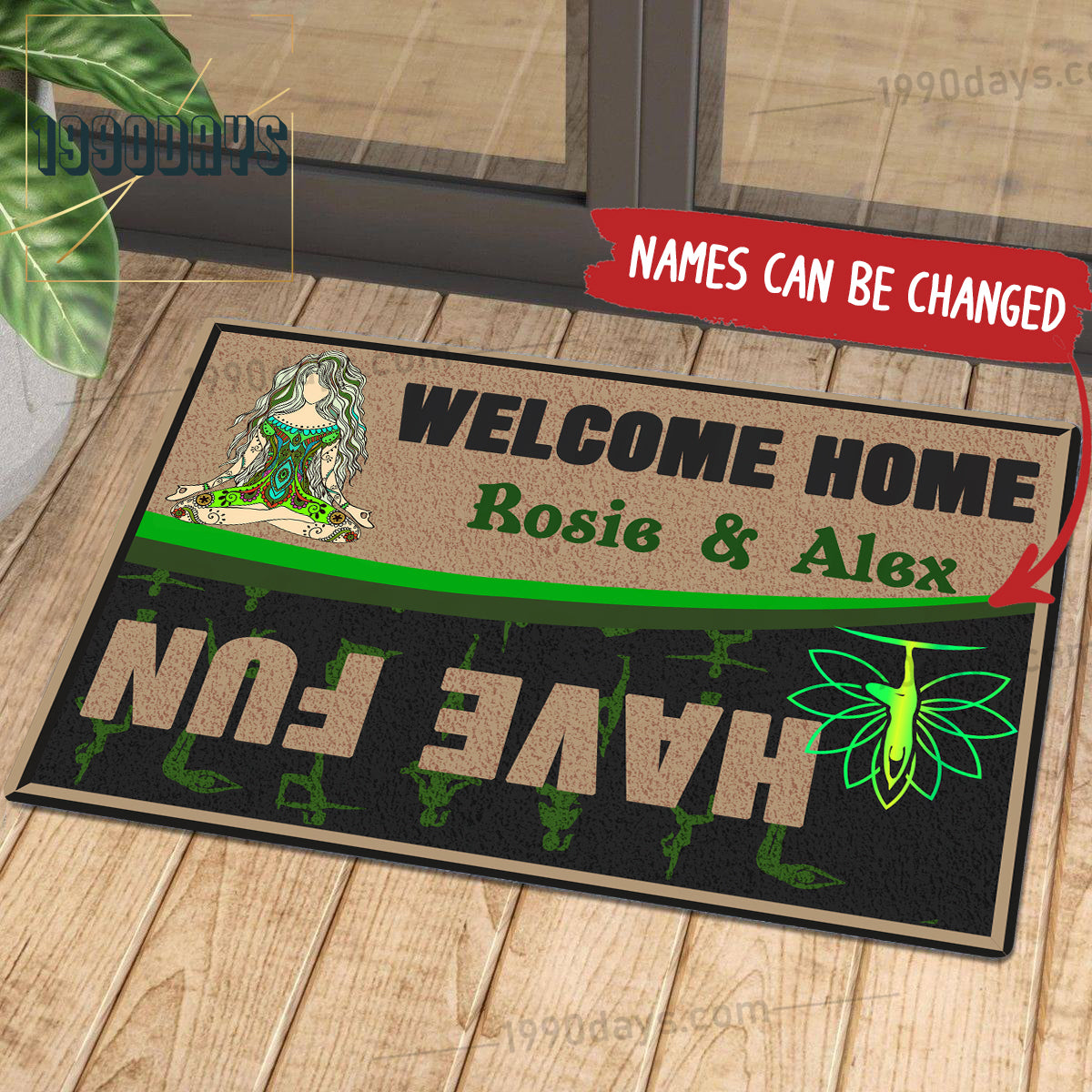 Welcome Home Have Fun Yoga Doormat Customize Your Name Black & White Green Indoor Outdoor Saint Patrick's Day Personalized Mat