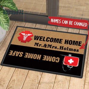 Welcome Home Come Home Safe Doctor Doormat Customize Your Name Black & White Indoor Outdoor Mat