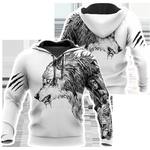 Tattoo Wolf Hoodie T Shirt For Men and Women HAC290501