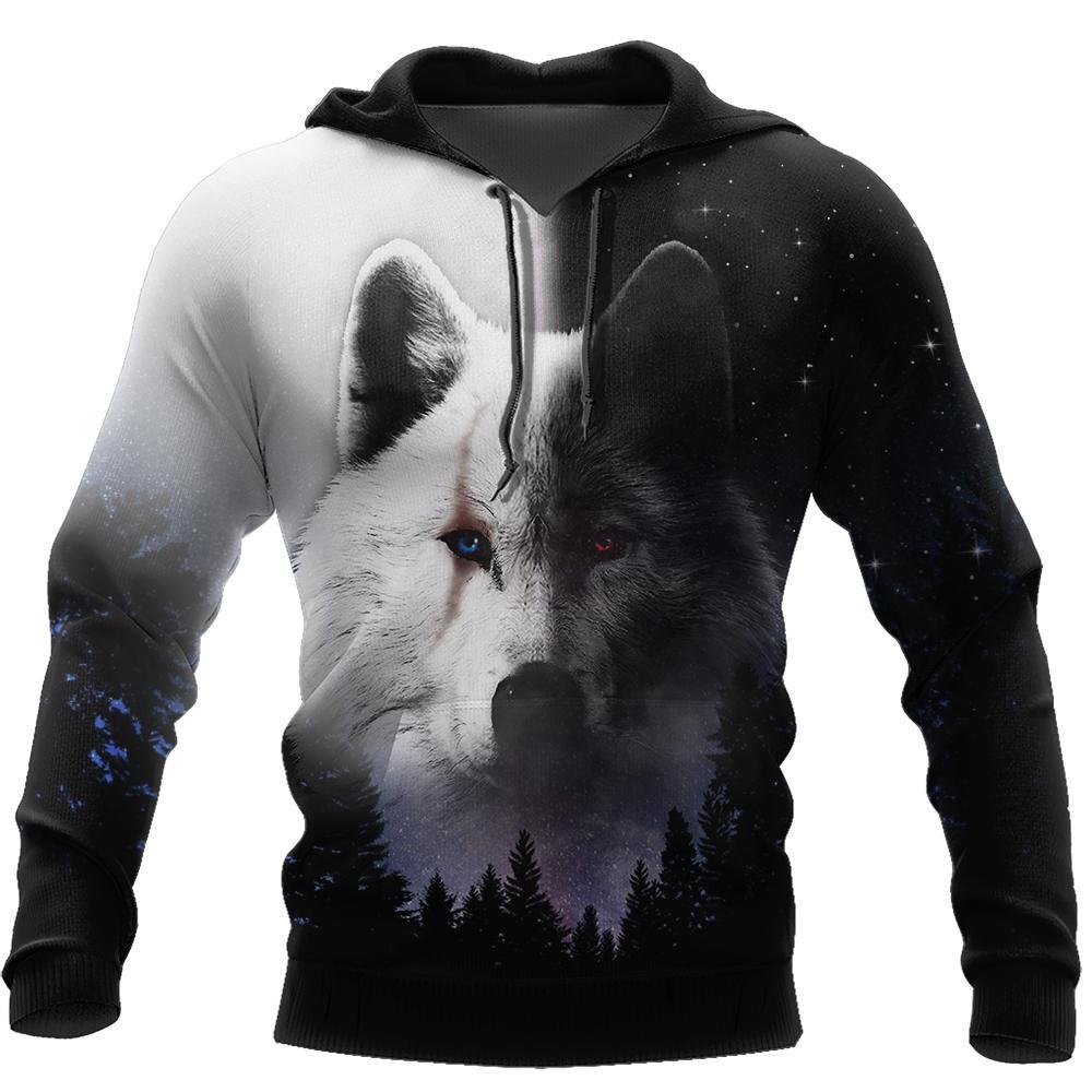 Black & White Wolf 3D Over Printed Hoodie Cloak for Men and Women