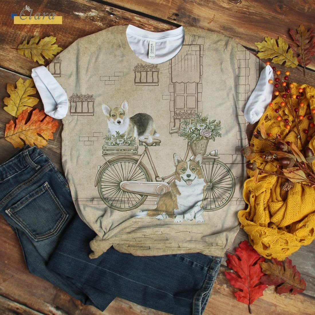 Dachshund T-shirt Vintage Bicycle