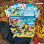 Cute Dachshund T-shirt Play At Beach