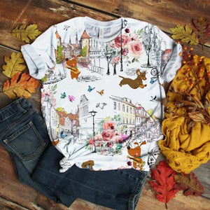 Dachshund T-shirt Retro Floral Clothes Art