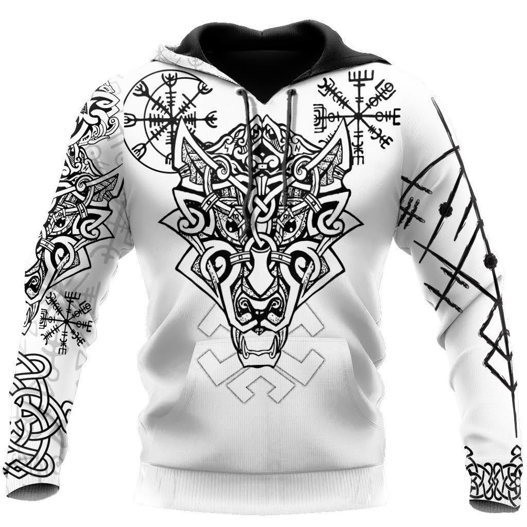 Fenrir Viking Wolf 3D Over Printed Hoodie for Men and Women