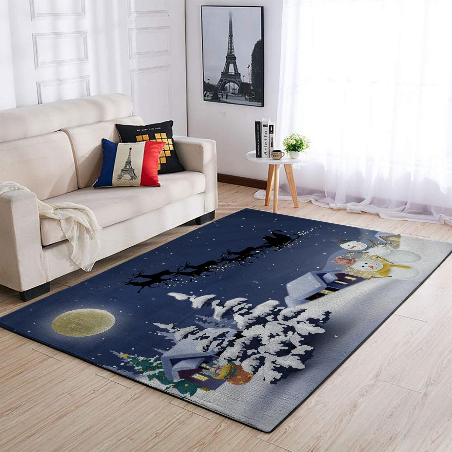 CHRISTMAS RUG CHRISTMAS NIGHT TWO SNOWMANS AREA RUG FULL SIZE