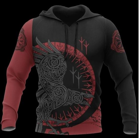 Vikings Tattoos Symbol the Raven Black Red Gift 3D Pullover Unisex Hoodie