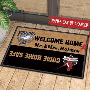 Welcome Home Come Home Safe Fishing Doormat Customize Your Name Black & White Indoor Outdoor Mat
