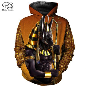 Ancient Egypt Anubis Gold Yeallow Pullover Special Gift 3D Unisex Hoodie 45