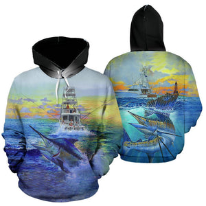 3D FISHING HOODIE MARLIN OCEAN FISHING FULL SIZE