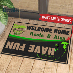 Welcome Home Have Fun Fishing Doormat Customize Your Name Black & White Green Indoor Outdoor Saint Patrick's Day Personalized Mat