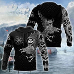 Vikings The Raven of Odin Tattoo Black & White Gift 3D Unisex Hoodie