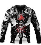 Vikings Tattoos Symbol Black White Red Gift 3D Pullover Unisex Hoodie