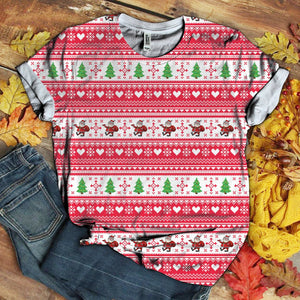 Christmas Pattern With Santa Claus Tshirt 3D