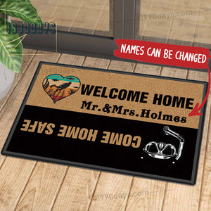 Welcome Home Come Home Safe Diving Doormat Customize Your Name Black & White Indoor Outdoor Mat