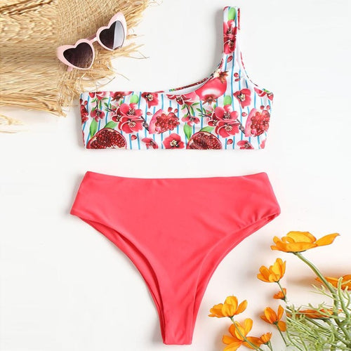 Fruity One Shoulder Bikini Set-An Eternal Summer