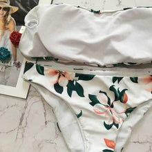Load image into Gallery viewer, White Floral Bandeau Bikini Set-An Eternal Summer