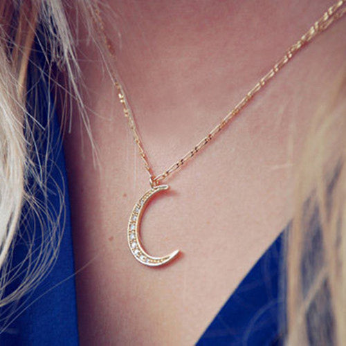 Crescent Moon Sparkly Necklace-An Eternal Summer