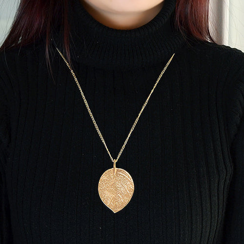 Golden Leaf Necklace-An Eternal Summer