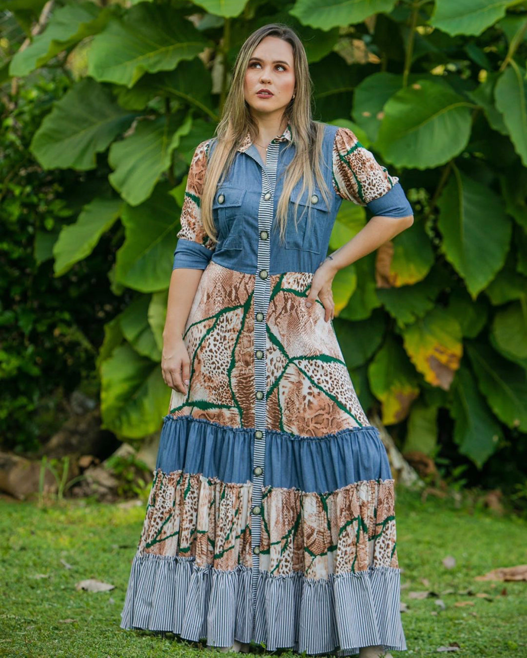VESTIDO EN CHAMBRAY Y ANIMAL PRINT COUNTRY