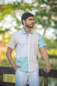 SUNSHINE CAMISA LINO BLOQUES DE COLOR