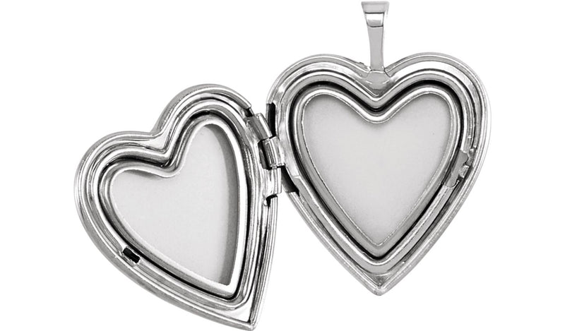 Sterling Silver 21x19.25 mm Heart Mom Locket with Color - THE LUSTRO HUT