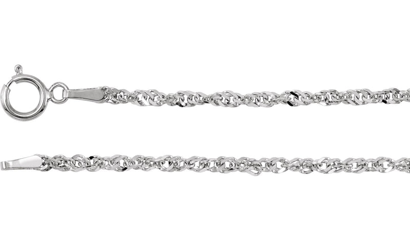 "14K White 1.75 mm Diamond-Cut Singapore 7.5"" Bracelet with Spring Ring"