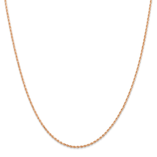 14k Rose Gold 1.50mm D/C Rope with Lobster Clasp Chain