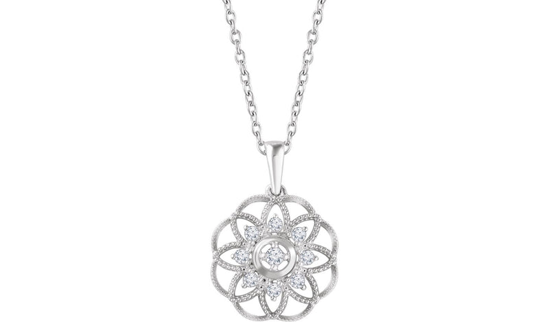 "14K White 1/5 CTW Diamond Granulated Filigree 18"" Necklace"