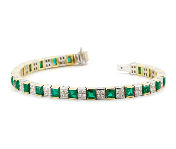 18K EMERALD TENNIS BRACELET - THE LUSTRO HUT