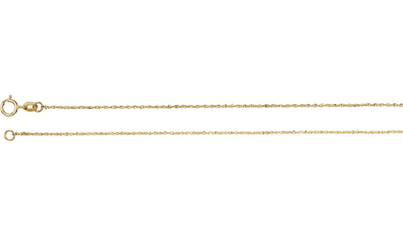 "14K Yellow .50 mm Diamond Cut Singapore 7"" Chain with Spring Ring"