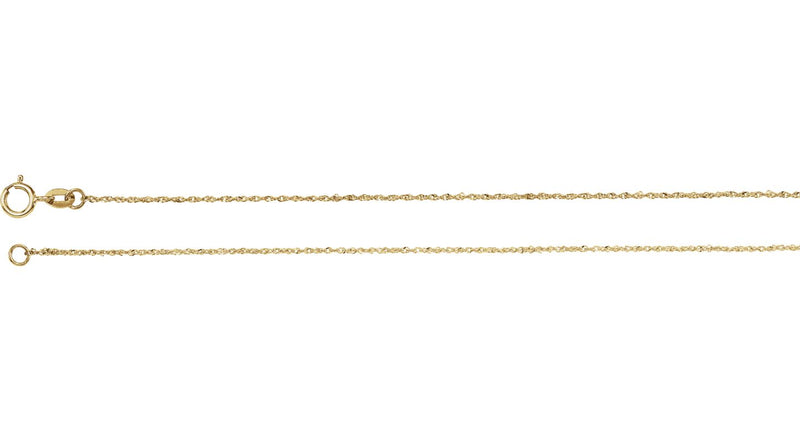 "14K Yellow Gold .50 mm Diamond Cut Singapore 24"" Chain with Spring Ring"
