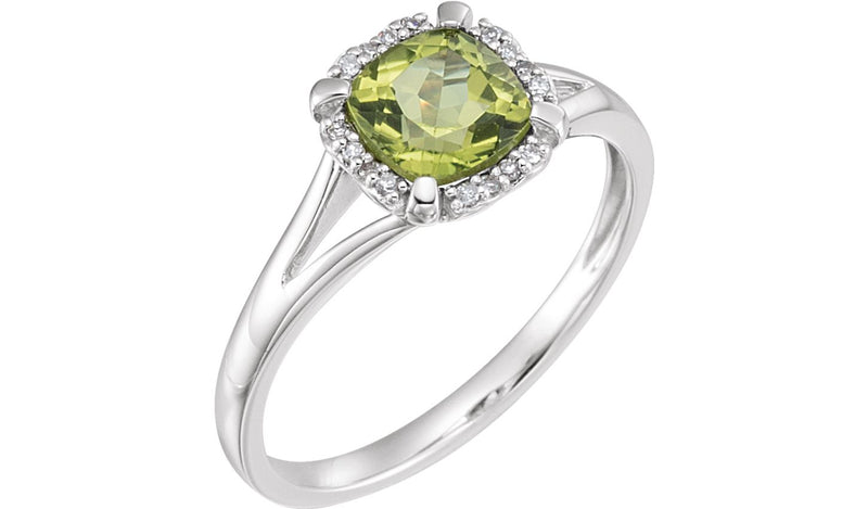 14K White Peridot & .05 CTW Diamond Ring