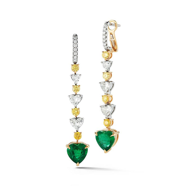 18K EMERALD HEART SHAPE EARRING - THE LUSTRO HUT