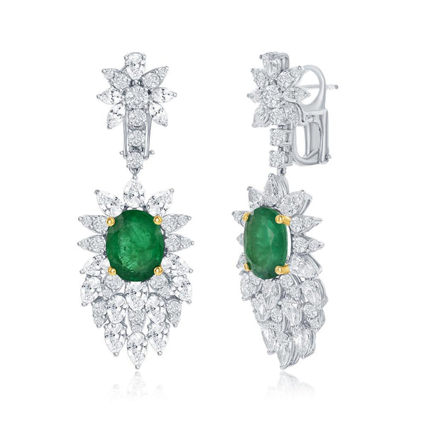 18K ELEGANT EMERALD AND DIAMOND EARRING - THE LUSTRO HUT